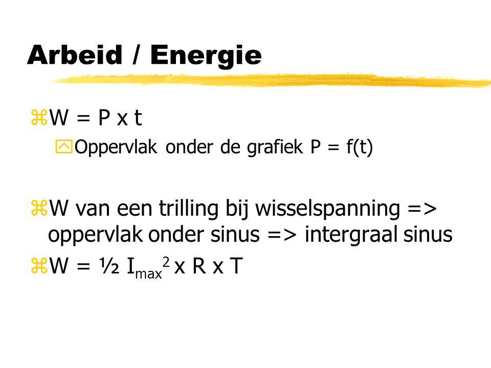 Arbeid / Energie zW = P x t yOppervlak onder de grafiek P = f(t) zW van een trilling bij wisselspanning => oppervlak onder sinus => intergraal sinus z