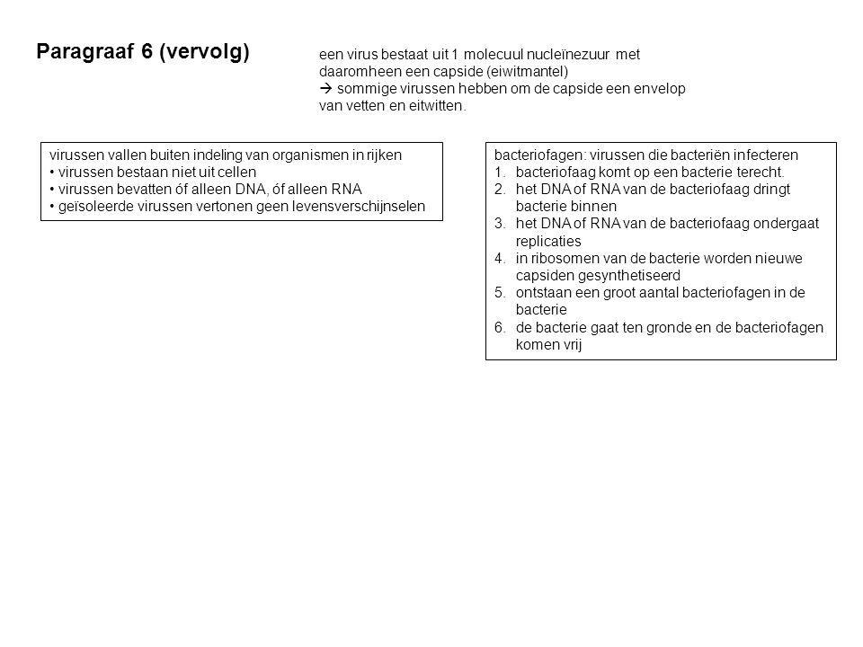 Paragraaf 6 (vervolg) een virus bestaat uit 1 molecuul nucleïnezuur met daaromheen een capside (eiwitmantel)  sommige virussen hebben om de capside e