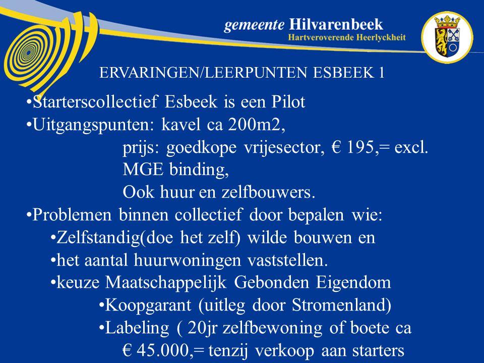 ERVARINGEN/LEERPUNTEN ESBEEK 1 Starterscollectief Esbeek is een Pilot Uitgangspunten: kavel ca 200m2, prijs: goedkope vrijesector, € 195,= excl.