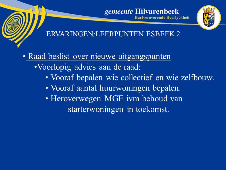 ERVARINGEN/LEERPUNTEN ESBEEK 2 Raad beslist over nieuwe uitgangspunten Voorlopig advies aan de raad: Vooraf bepalen wie collectief en wie zelfbouw.