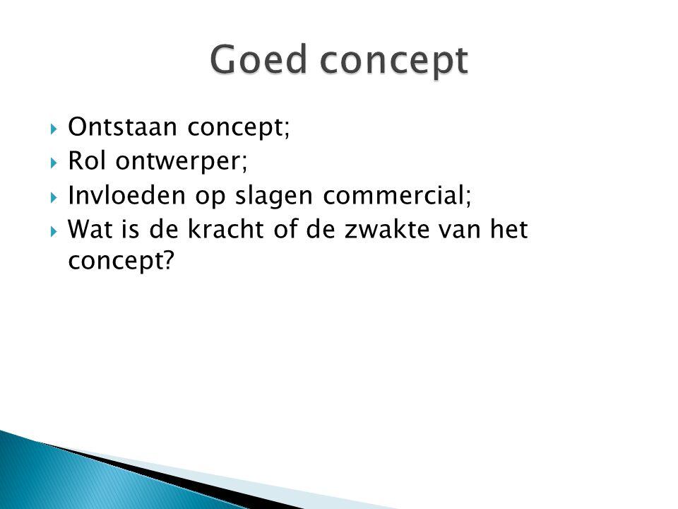  Ontstaan concept;  Rol ontwerper;  Invloeden op slagen commercial;  Wat is de kracht of de zwakte van het concept?