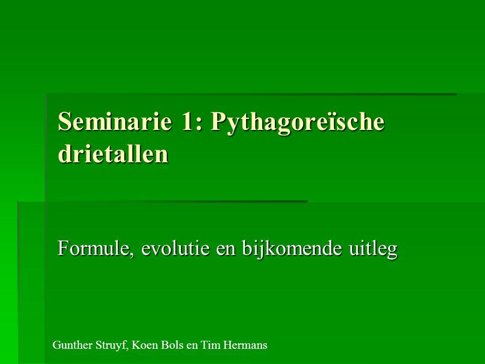 Seminarie 1: Pythagoreïsche drietallen Formule, evolutie en bijkomende uitleg Gunther Struyf, Koen Bols en Tim Hermans
