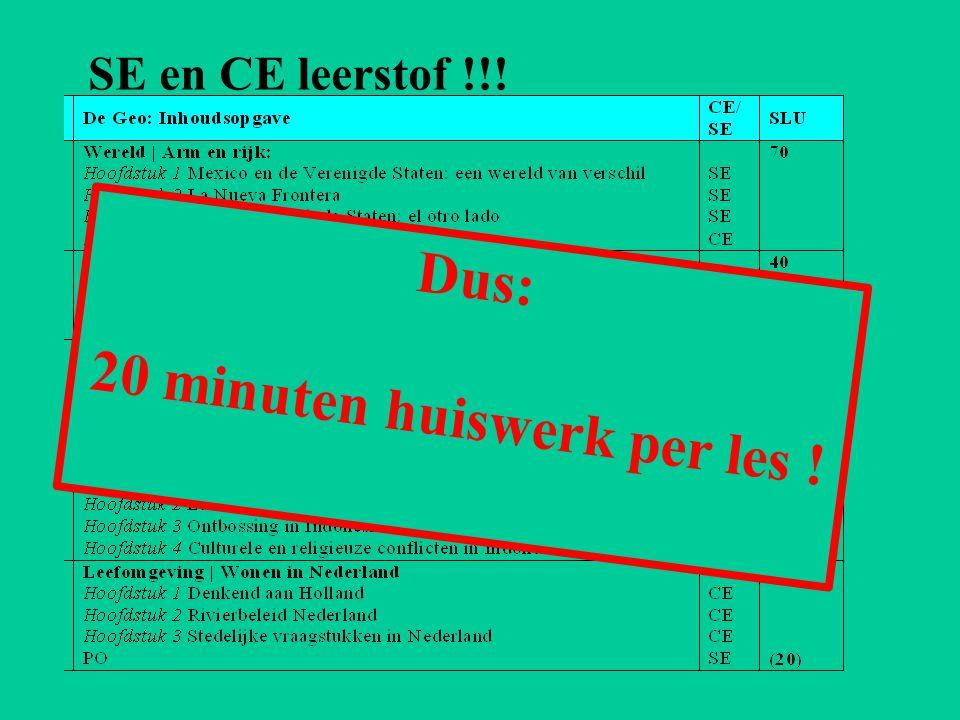 SE en CE leerstof !!! Dus: 20 minuten huiswerk per les !