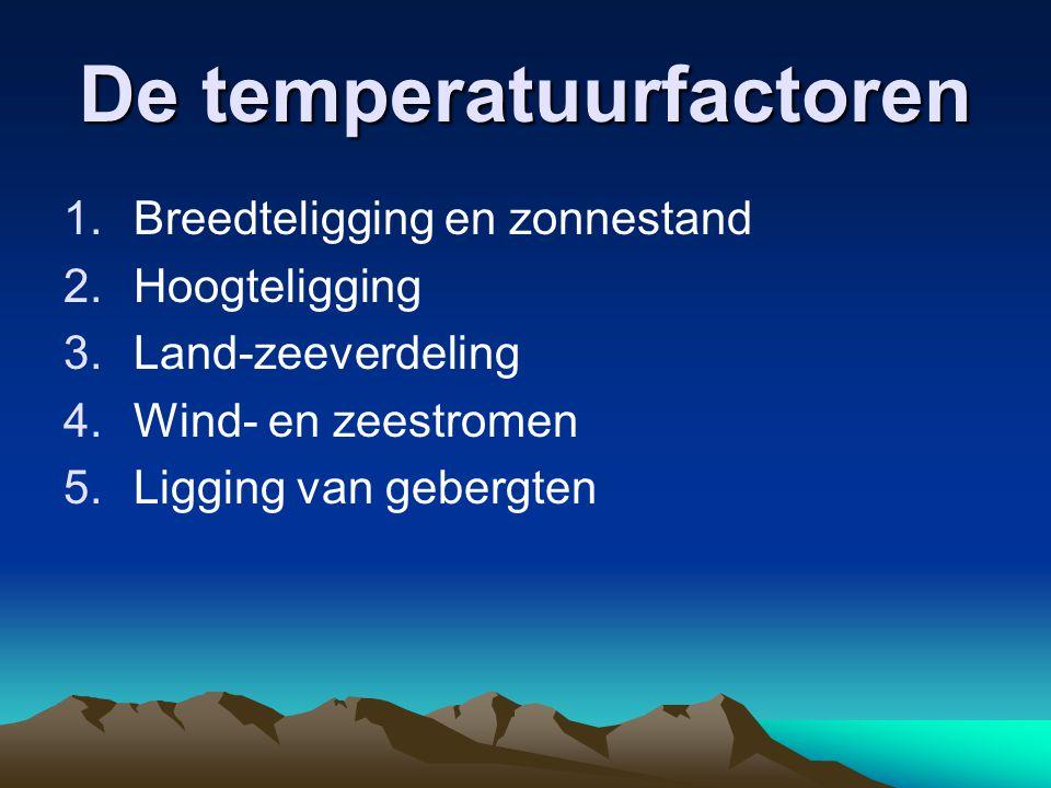De temperatuurfactoren 1.Breedteligging en zonnestand 2.Hoogteligging 3.Land-zeeverdeling 4.Wind- en zeestromen 5.Ligging van gebergten