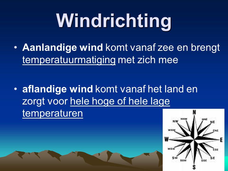 Windrichting Aanlandige wind komt vanaf zee en brengt temperatuurmatiging met zich mee aflandige wind komt vanaf het land en zorgt voor hele hoge of hele lage temperaturen