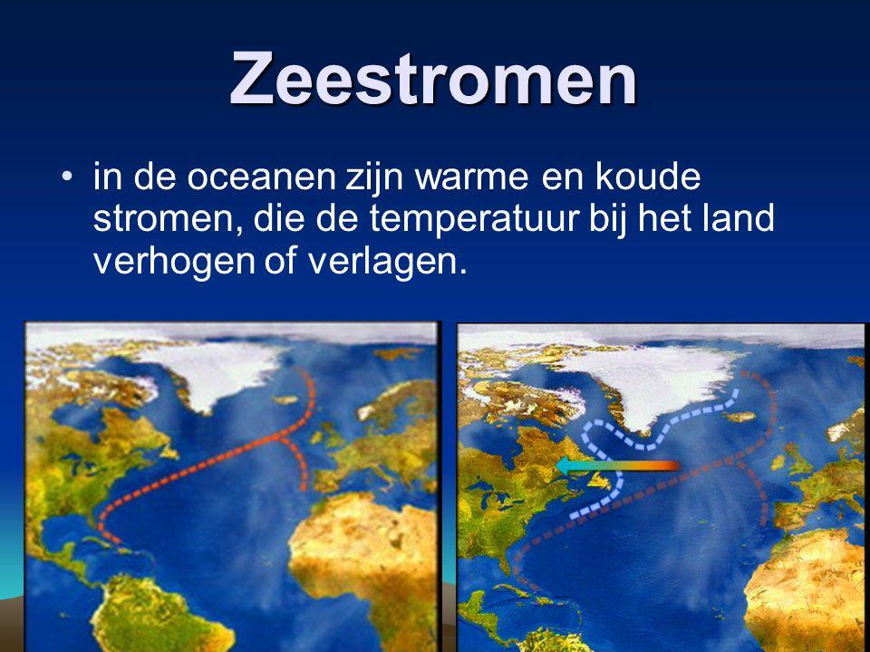 Zeestromen in de oceanen zijn warme en koude stromen, die de temperatuur bij het land verhogen of verlagen.