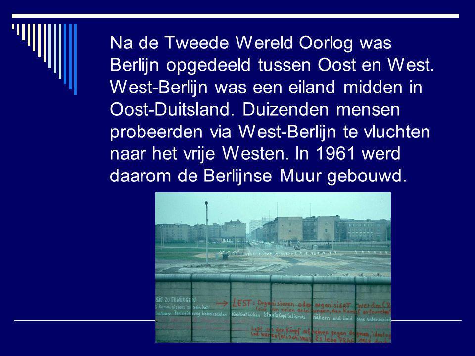 Na de Tweede Wereld Oorlog was Berlijn opgedeeld tussen Oost en West. West-Berlijn was een eiland midden in Oost-Duitsland. Duizenden mensen probeerde