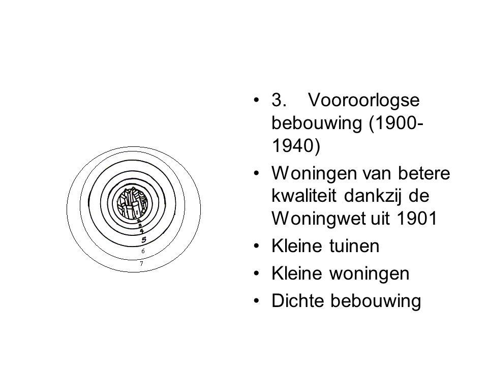 3. Vooroorlogse bebouwing (1900- 1940) Woningen van betere kwaliteit dankzij de Woningwet uit 1901 Kleine tuinen Kleine woningen Dichte bebouwing