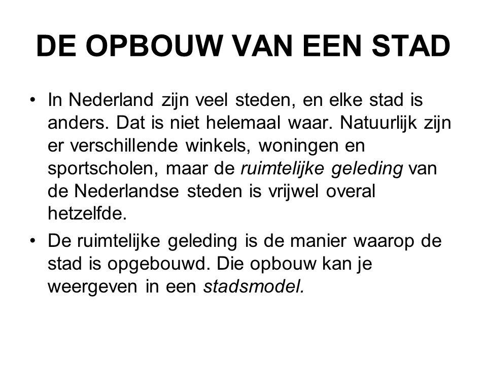 DE OPBOUW VAN EEN STAD In Nederland zijn veel steden, en elke stad is anders. Dat is niet helemaal waar. Natuurlijk zijn er verschillende winkels, won