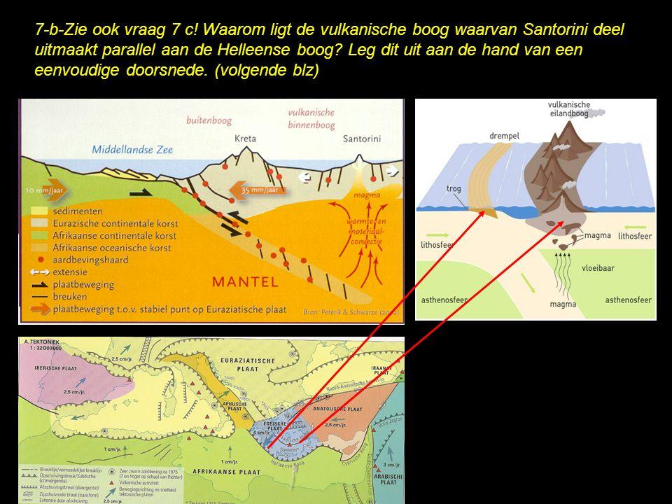 7-b-Zie ook vraag 7 c! Waarom ligt de vulkanische boog waarvan Santorini deel uitmaakt parallel aan de Helleense boog? Leg dit uit aan de hand van een