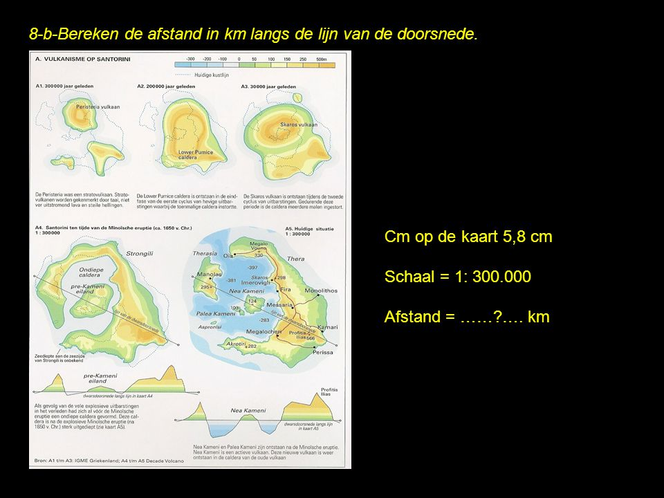8-b-Bereken de afstand in km langs de lijn van de doorsnede. Cm op de kaart 5,8 cm Schaal = 1: 300.000 Afstand = ……?…. km