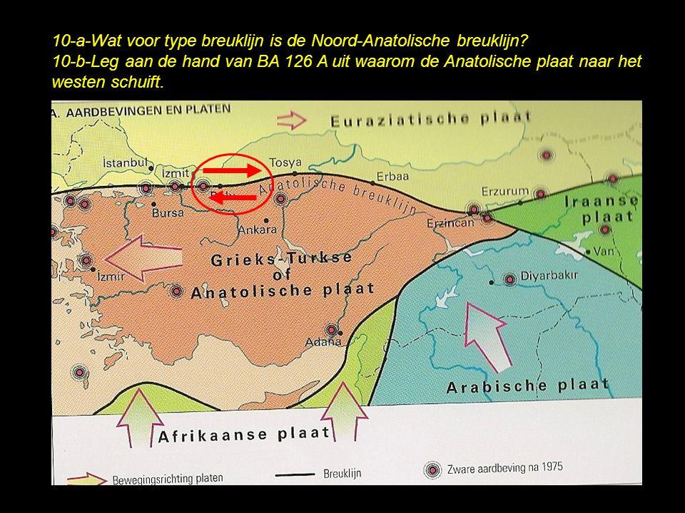 10-a-Wat voor type breuklijn is de Noord-Anatolische breuklijn? 10-b-Leg aan de hand van BA 126 A uit waarom de Anatolische plaat naar het westen schu