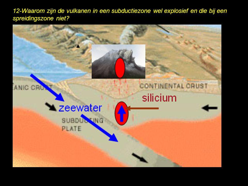 12-Waarom zijn de vulkanen in een subductiezone wel explosief en die bij een spreidingszone niet?