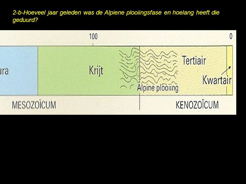 2-b-Hoeveel jaar geleden was de Alpiene plooiingsfase en hoelang heeft die geduurd?