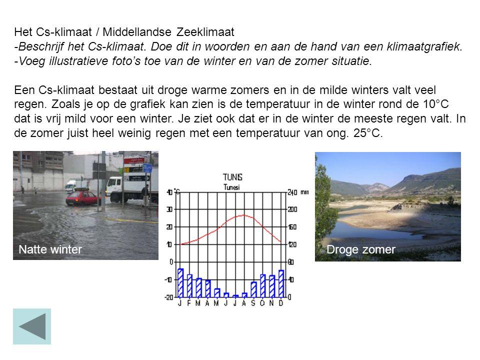 Het Cs-klimaat / Middellandse Zeeklimaat -Beschrijf het Cs-klimaat. Doe dit in woorden en aan de hand van een klimaatgrafiek. -Voeg illustratieve foto