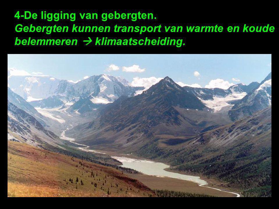 4-De ligging van gebergten. Gebergten kunnen transport van warmte en koude belemmeren  klimaatscheiding.