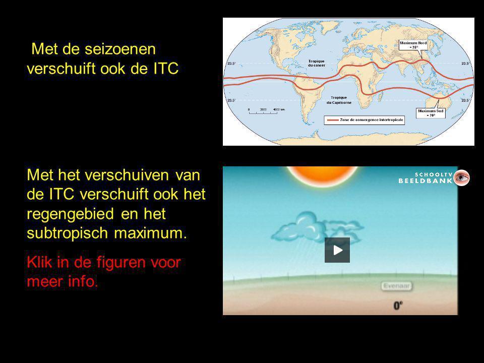 Met de seizoenen verschuift ook de ITC Met het verschuiven van de ITC verschuift ook het regengebied en het subtropisch maximum. Klik in de figuren vo