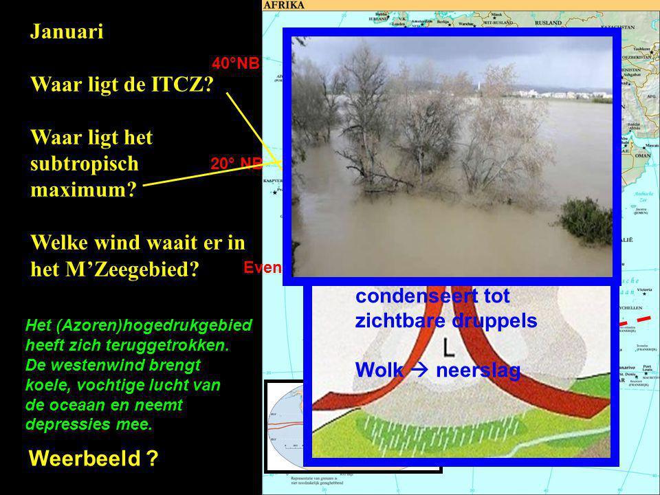 Evenaar 20° NB 40°NB Januari Waar ligt de ITCZ? Waar ligt het subtropisch maximum? Welke wind waait er in het M'Zeegebied? Het (Azoren)hogedrukgebied