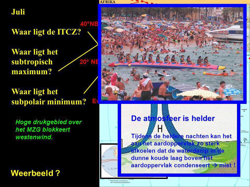 Evenaar 20° NB 40°NB Juli Waar ligt de ITCZ? Waar ligt het subtropisch maximum? Waar ligt het subpolair minimum? Weerbeeld ? + + + + + + + + + + + + +