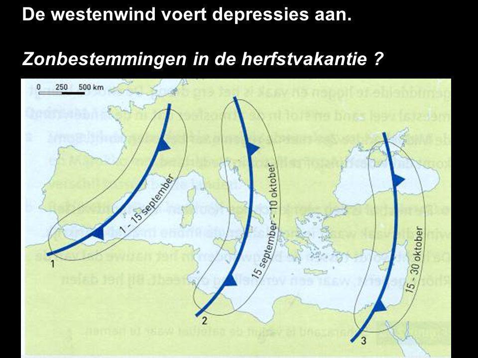 De westenwind voert depressies aan. Zonbestemmingen in de herfstvakantie ?
