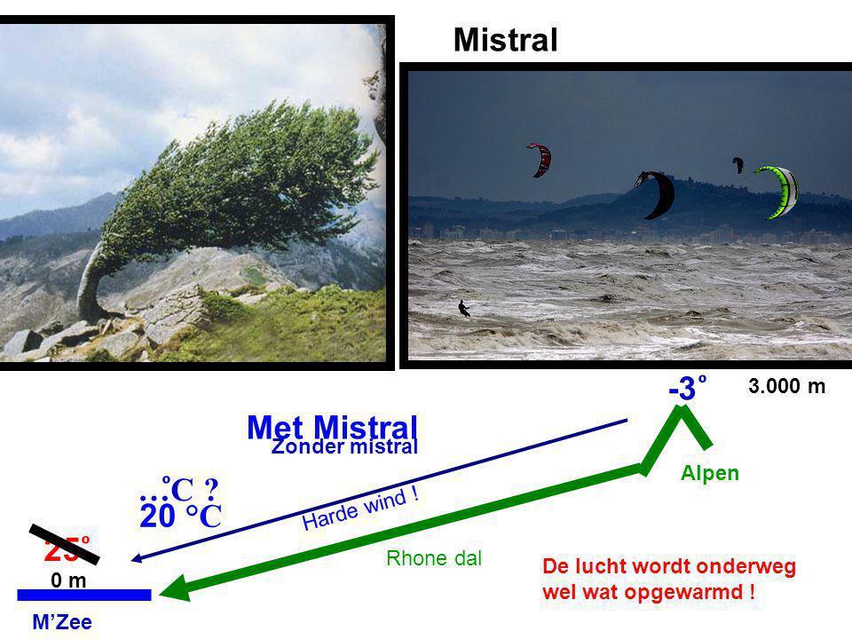 Mistral 25 -3 0 m 3.000 m Zonder mistral …C ? M'Zee Alpen Rhone dal Met Mistral Harde wind ! 20 °C De lucht wordt onderweg wel wat opgewarmd !