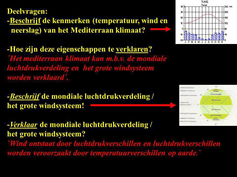 Deelvragen: -Beschrijf de kenmerken (temperatuur, wind en neerslag) van het Mediterraan klimaat? -Hoe zijn deze eigenschappen te verklaren? ´Het medit