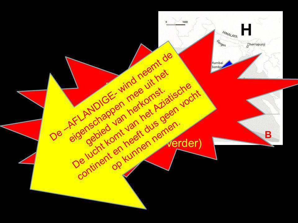 H B Je koos voor 'B' ?. FOUT ! Want………(klik verder) De –AFLANDIGE- wind neemt de eigenschappen mee uit het gebied van herkomst. De lucht komt van het