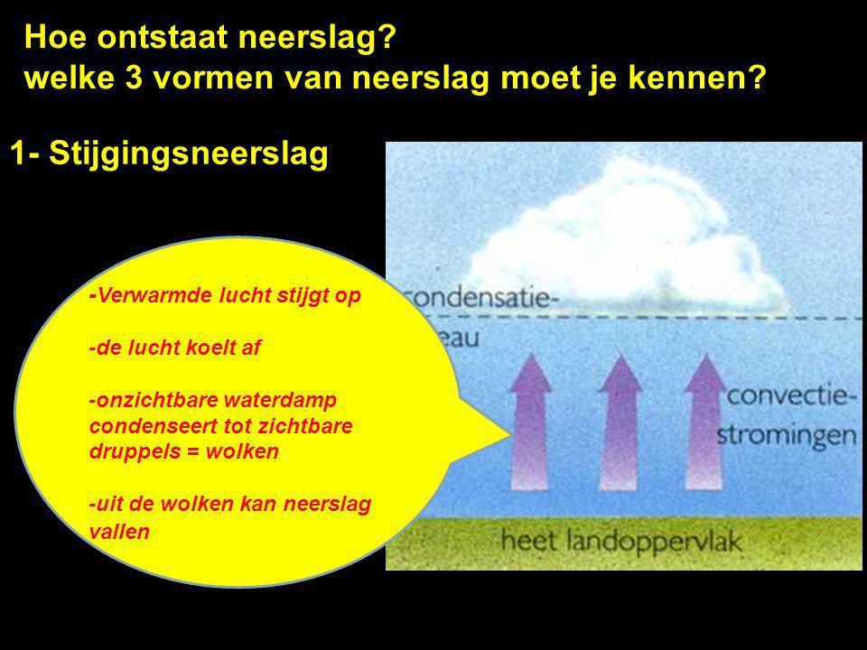 Hoe ontstaat neerslag? welke 3 vormen van neerslag moet je kennen? 1- Stijgingsneerslag - Verwarmde lucht stijgt op -de lucht koelt af -onzichtbare wa