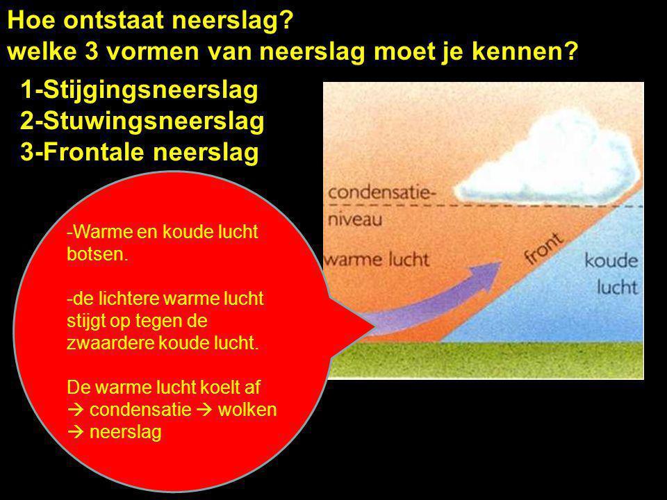 Hoe ontstaat neerslag? welke 3 vormen van neerslag moet je kennen? 1-Stijgingsneerslag 2-Stuwingsneerslag 3-Frontale neerslag -Warme en koude lucht bo