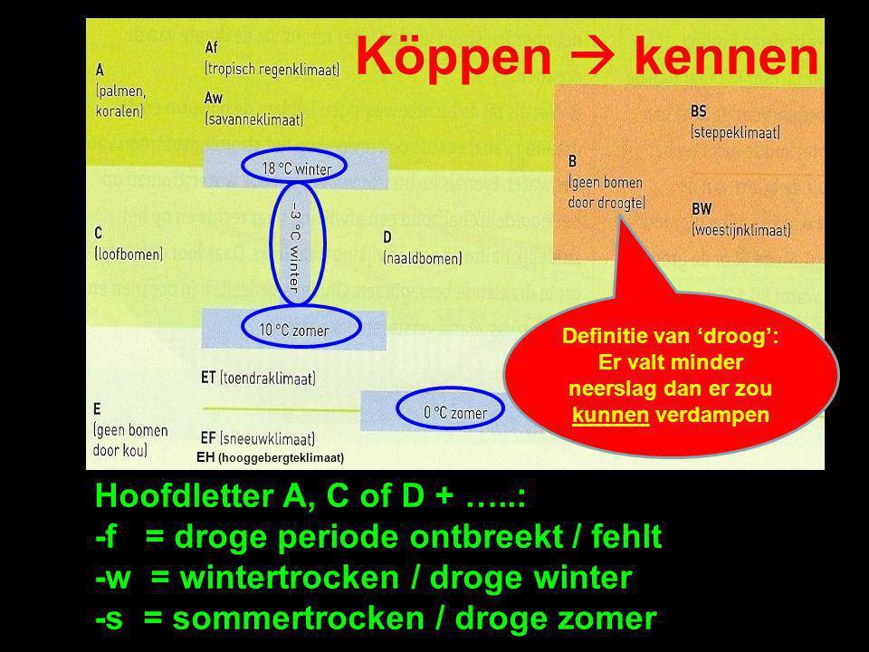 Köppen  kennen Hoofdletter A, C of D + …..: -f = droge periode ontbreekt / fehlt -w = wintertrocken / droge winter -s = sommertrocken / droge zomer E