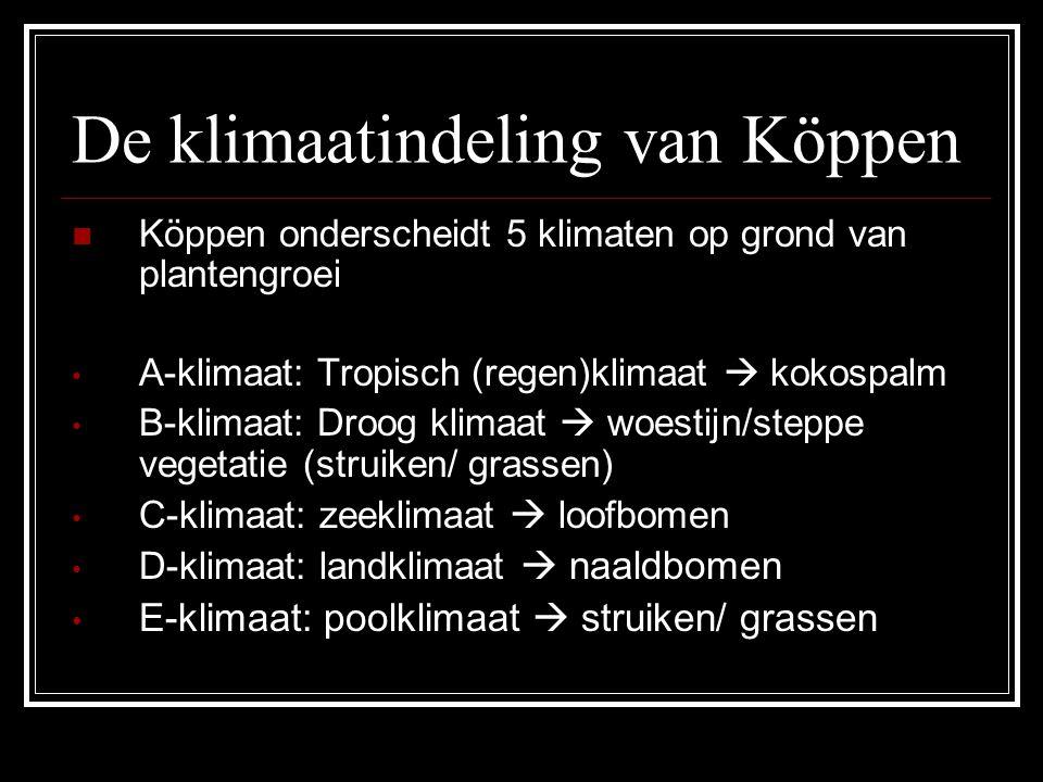 Köppen onderscheidt 5 klimaten op grond van plantengroei A-klimaat: Tropisch (regen)klimaat  kokospalm B-klimaat: Droog klimaat  woestijn/steppe vegetatie (struiken/ grassen) C-klimaat: zeeklimaat  loofbomen D-klimaat: landklimaat  naaldbomen E-klimaat: poolklimaat  struiken/ grassen