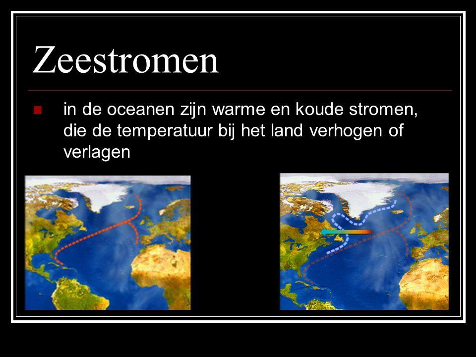 Zeestromen in de oceanen zijn warme en koude stromen, die de temperatuur bij het land verhogen of verlagen