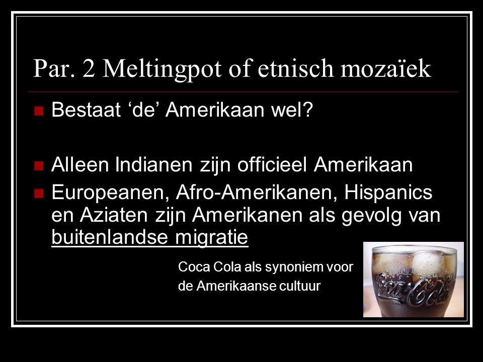 Par.2 Meltingpot of etnisch mozaïek Bestaat 'de' Amerikaan wel.