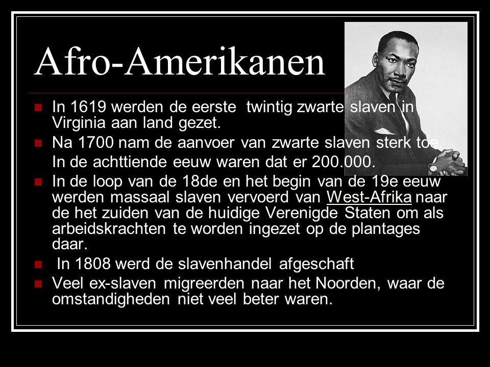 Afro-Amerikanen In 1619 werden de eerste twintig zwarte slaven in Virginia aan land gezet.