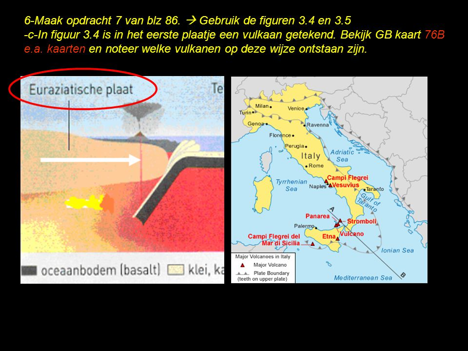 6-Maak opdracht 7 van blz 86.  Gebruik de figuren 3.4 en 3.5 -c-In figuur 3.4 is in het eerste plaatje een vulkaan getekend. Bekijk GB kaart 76B e.a.