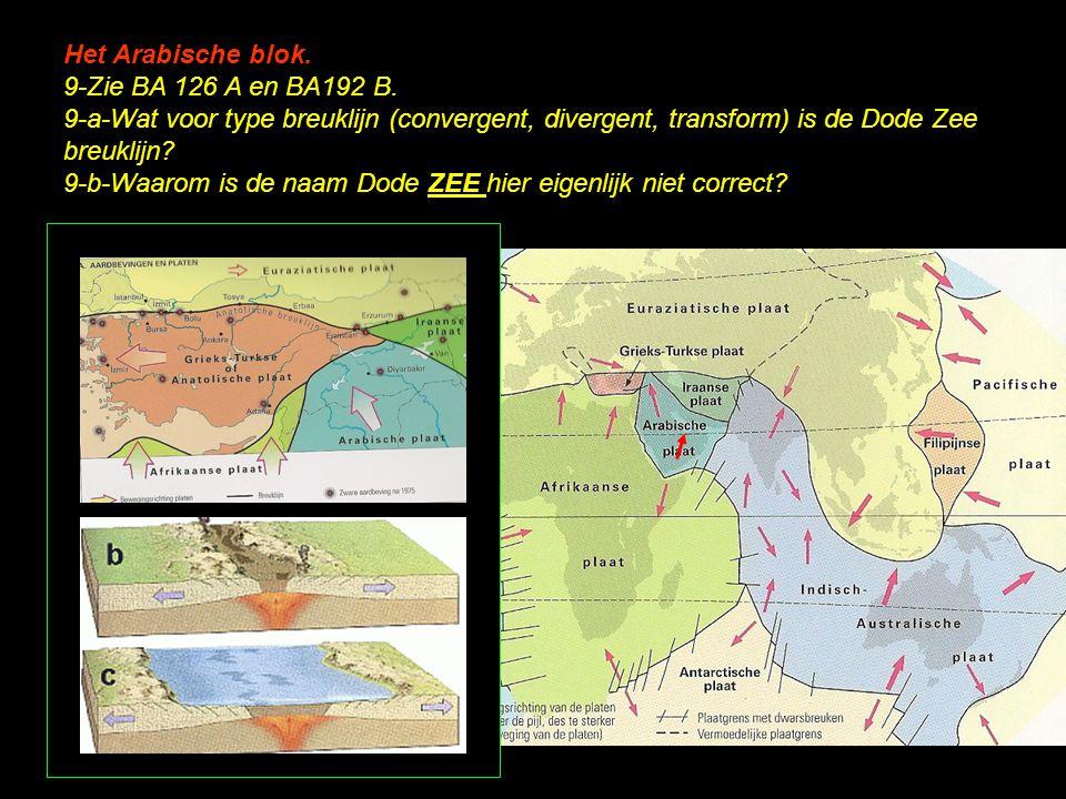 Het Arabische blok. 9-Zie BA 126 A en BA192 B. 9-a-Wat voor type breuklijn (convergent, divergent, transform) is de Dode Zee breuklijn? 9-b-Waarom is