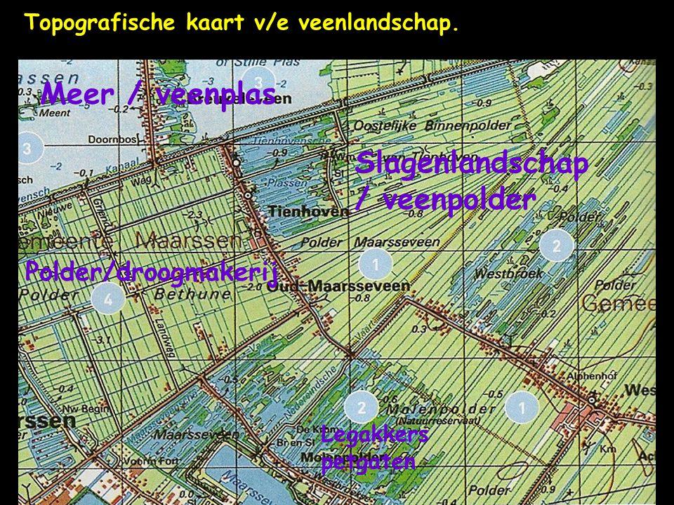 Topografische kaart v/e veenlandschap. Slagenlandschap / veenpolder Polder/droogmakerij Meer / veenplas Legakkers petgaten