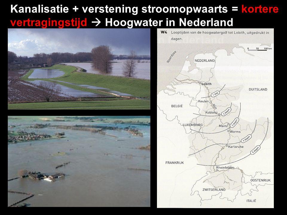 Kanalisatie: beken en rivieren worden rechtgetrokken, waadoor het water sneller doorstroomt.