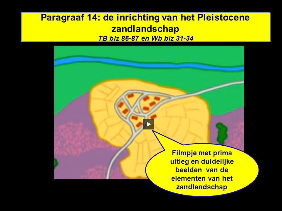 Paragraaf 14: de inrichting van het Pleistocene zandlandschap TB blz 86-87 en Wb blz 31-34 Filmpje met prima uitleg en duidelijke beelden van de elementen van het zandlandschap