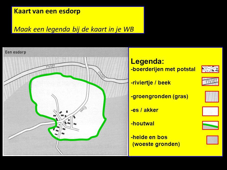 Kaart van een esdorp Maak een legenda bij de kaart in je WB Legenda: -boerderijen met potstal -riviertje / beek -groengronden (gras) -es / akker -houtwal -heide en bos (woeste gronden)