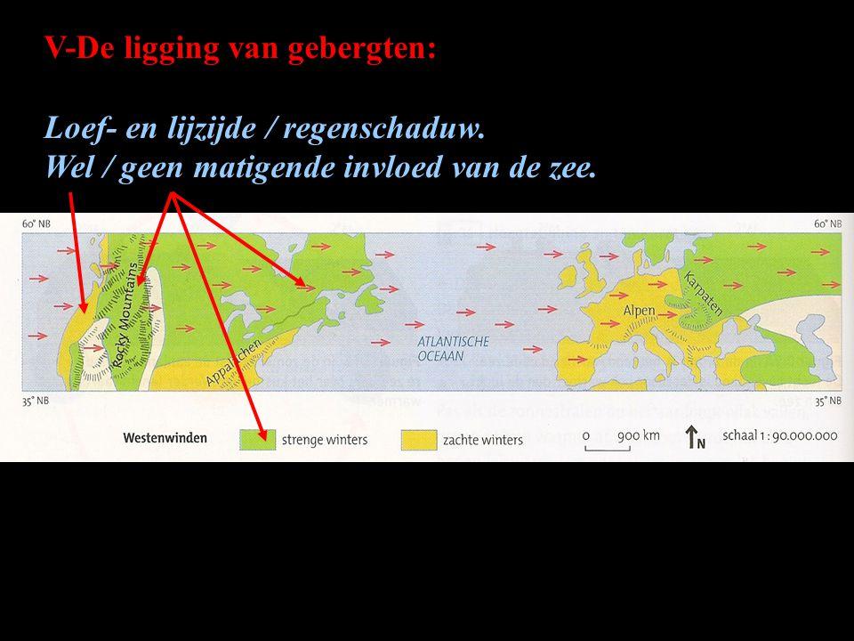 V-De ligging van gebergten: Loef- en lijzijde / regenschaduw. Wel / geen matigende invloed van de zee.