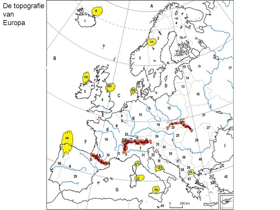 De topografie van Europa
