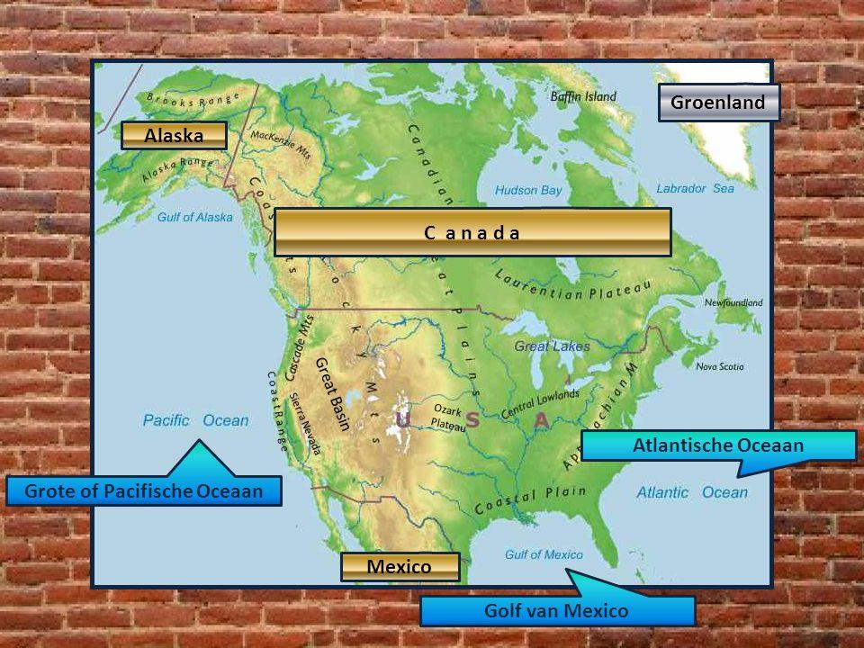 Sierra Nevada C o a s t R a n g e Ozark Plateau Alaska Great Basin Grote of Pacifische Oceaan Atlantische Oceaan Golf van Mexico Alaska C a n a d a Me