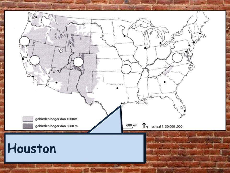 Legenda 1-Kustvlakte 6-Rocky Mountains 2-Appalachen 7-Great Basin / Grote Bekken 3-Centrale vlakte 8-Sierra Nevada 4-Ozark Plateau 9-Central Valley 5-Great Plains (prairies) 10-Coastal Range (kustgeberte) Reliëf: Doorsnede USA van Oost naar West