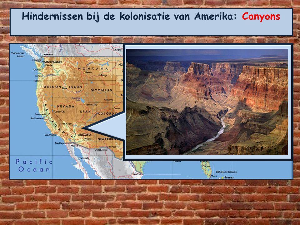 Hindernissen bij de kolonisatie van Amerika: Canyons Aangekomen op het Coloradoplateau dachten de kolonisten eindelijk een groot vlak stuk land te heb
