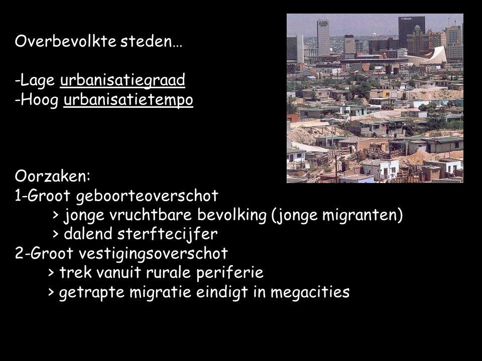 Overbevolkte steden… -Lage urbanisatiegraad -Hoog urbanisatietempo Oorzaken: 1-Groot geboorteoverschot > jonge vruchtbare bevolking (jonge migranten) > dalend sterftecijfer 2-Groot vestigingsoverschot > trek vanuit rurale periferie > getrapte migratie eindigt in megacities