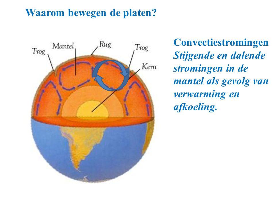 Waarom bewegen de platen? Convectiestromingen Stijgende en dalende stromingen in de mantel als gevolg van verwarming en afkoeling. (