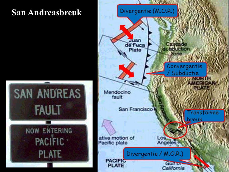 San Andreasbreuk Convergentie / Subductie Transforme breuk Divergentie (M.O.R.) Divergentie / M.O.R.)