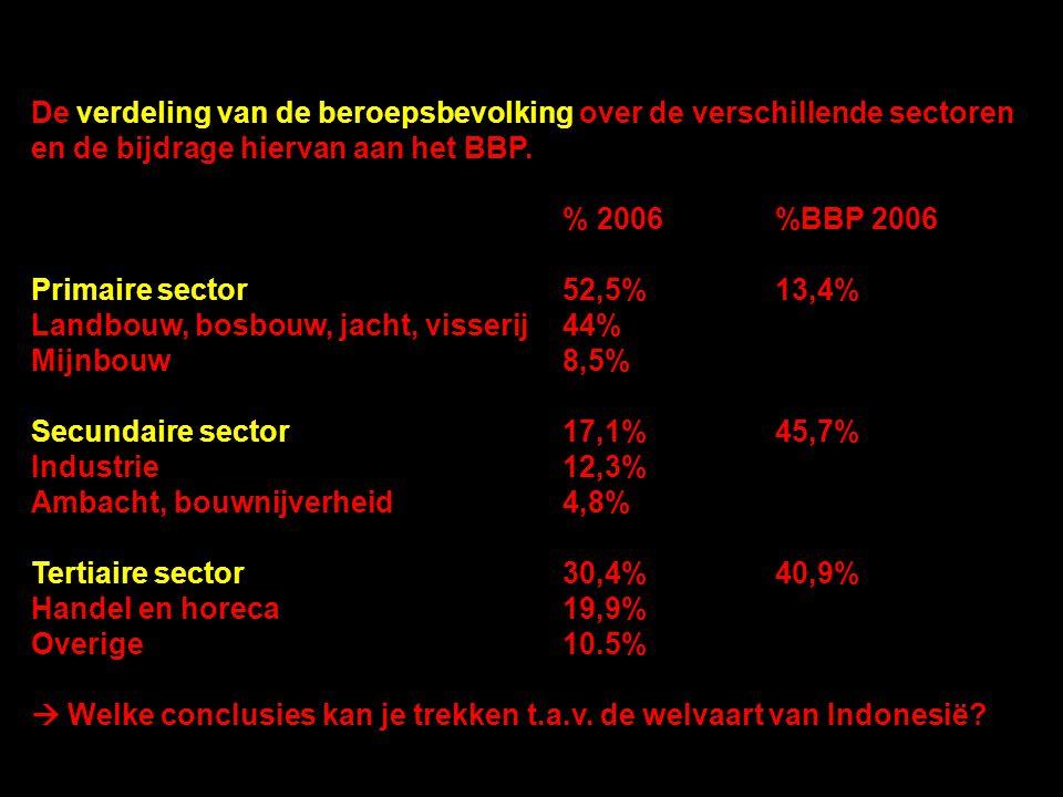 De verdeling van de beroepsbevolking over de verschillende sectoren en de bijdrage hiervan aan het BBP. % 2006%BBP 2006 Primaire sector52,5%13,4% Land