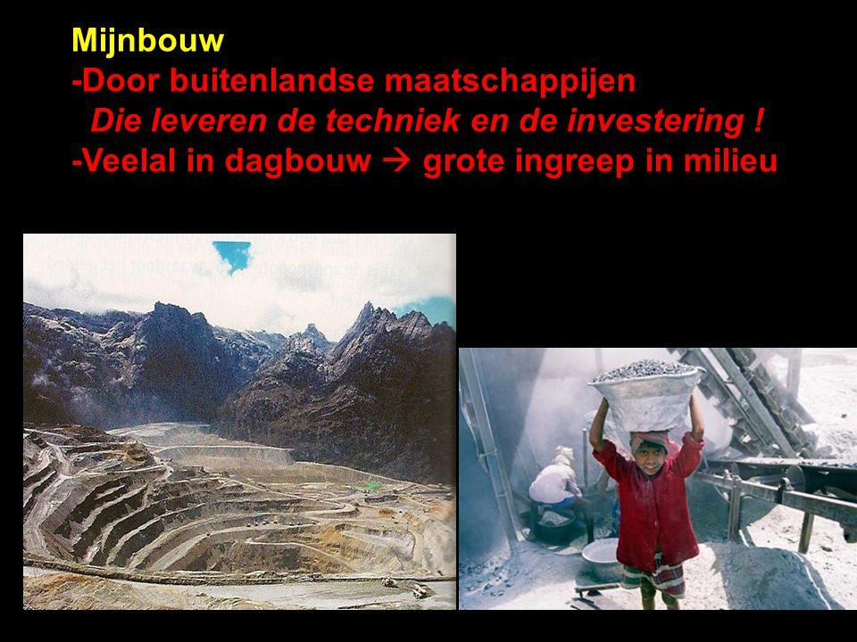 Mijnbouw -Door buitenlandse maatschappijen Die leveren de techniek en de investering ! -Veelal in dagbouw  grote ingreep in milieu